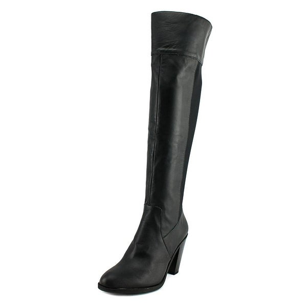 Kenneth Cole Reaction Very Clear Women Round Toe Leather Black Knee High Boot