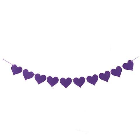 Non-woven Fabric Heart Shaped Wedding Decor Photo Prop Bunting Banner - Purple