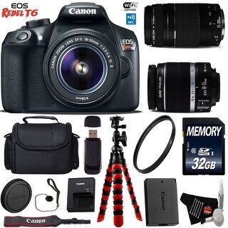 Canon EOS Rebel T6 DSLR Camera with 18-55mm IS II Lens & 75-300mm III Lens + Card Reader + Bundle 20 (Intl Model)