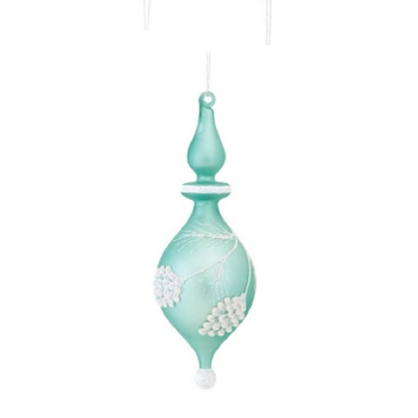 "8.5"" Mint Green and White Glitter Frosted Pine Cone Glass Finial Christmas Ornament"