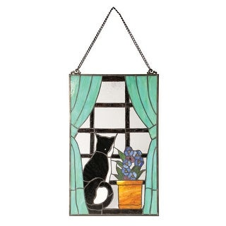 River of Goods Cat in Window Stained Glass Panel - Art Glass Sun Catcher - 14 in. x 22 in.