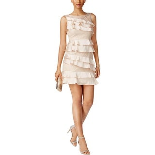 Adrianna Papell Womens Petites Cocktail Dress Lace Ruffled