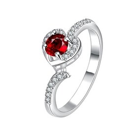 Petite Ruby Red Swirl Jewels Modern Ring