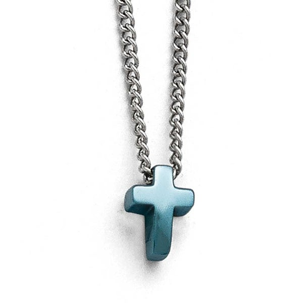 Chisel Stainless Steel Polished Blue IP-plated Cross Necklace - 16 in