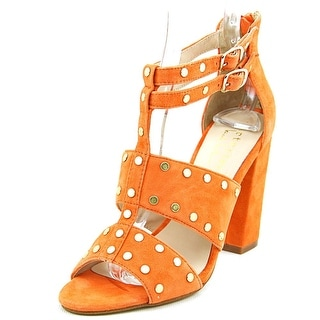 Nicole Miller Jagger Women Open Toe Suede Orange Sandals