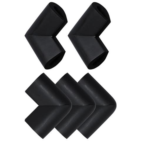 5Pcs Foam Furniture Edge Cover Protectors U Shape Corner Cushions Bumper Guards - Black
