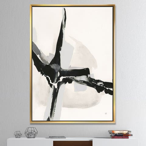 Designart 'Abstract Neutral I' Mid-Century Modern Framed Canvas - Black