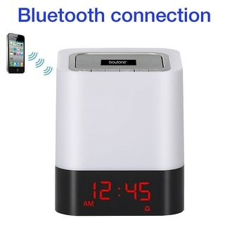 Boytone BT-83CR Portable FM Radio Alarm Clock Wireless Bluetooth 4.1 Speaker, 3-Way Night Light Touch Lamp, Built–in Rechargeabl