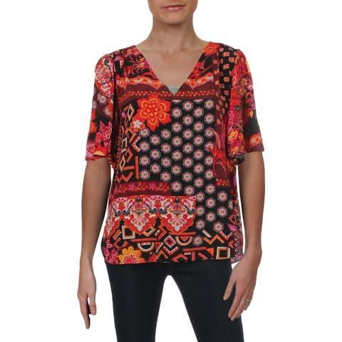 Trina Turk Womens Tunic Top Silk Bell Sleeves - M