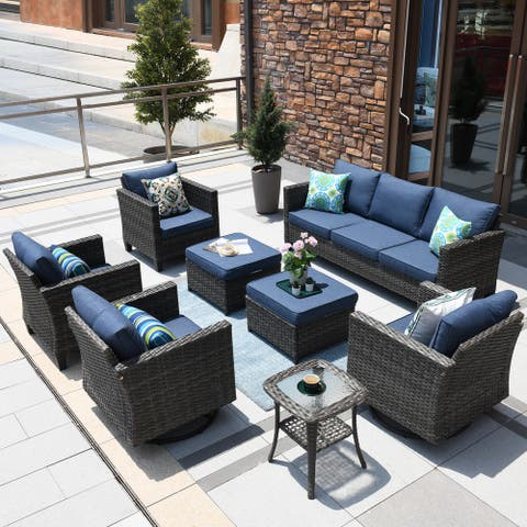 Ovios Patio Furniture Set 8-piece Wicker Rocking Swivel Chair Sectional Sofa Side Tables