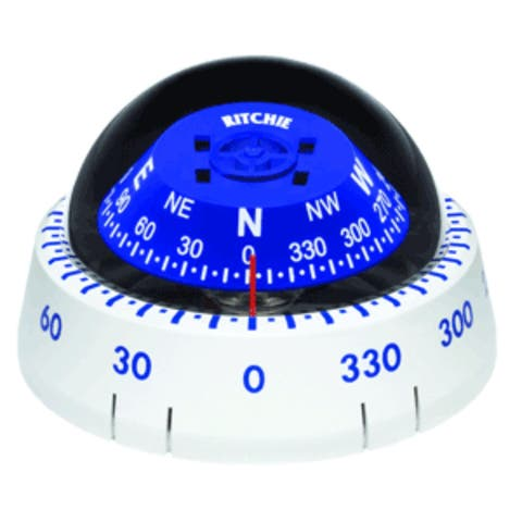 "7"" White and Blue Marine Ritchie XP-99W Kayaker Compass Surface Mount"