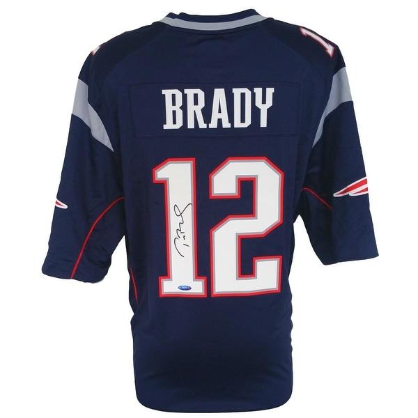 Tom Brady Signed New England Patriots Blue SBLI Nike Game Replica Jersey Tristar