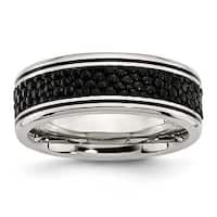 Chisel Stainless Steel Polished Grooved/Black IP-plated Textured 8mm Ring