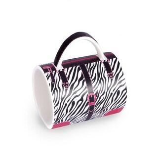 "5"" Fashion Avenue Chic Black, White and Pink Zebra Print Ceramic Handbag Mug"