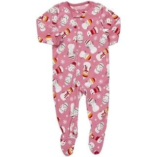 Carter's Little Girls' 1-piece Micro-fleece Pajamas (Youth 5, Snowmen)