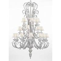 White Wrought Iron Chandelier Lighting with White Shades