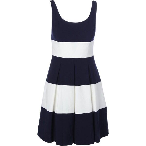 Lauren Ralph Lauren Womens Saniya Casual Dress Colorblock Pleated