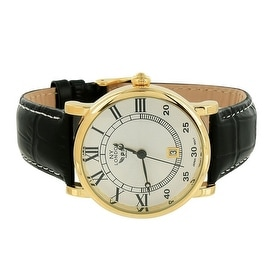 Mens Classy Watch Gold Tone Dial Black Leather Band NY London Stainless Steel Back