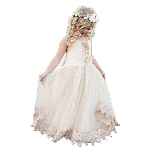 b2bf267f1d3 Think Pink Bows Girls Champagne Lace Francesca Junior Bridesmaid Dress 7