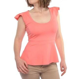 Red Valentino Cap Sleeve Scoop Neck Peplum Women Regular Peplum Top
