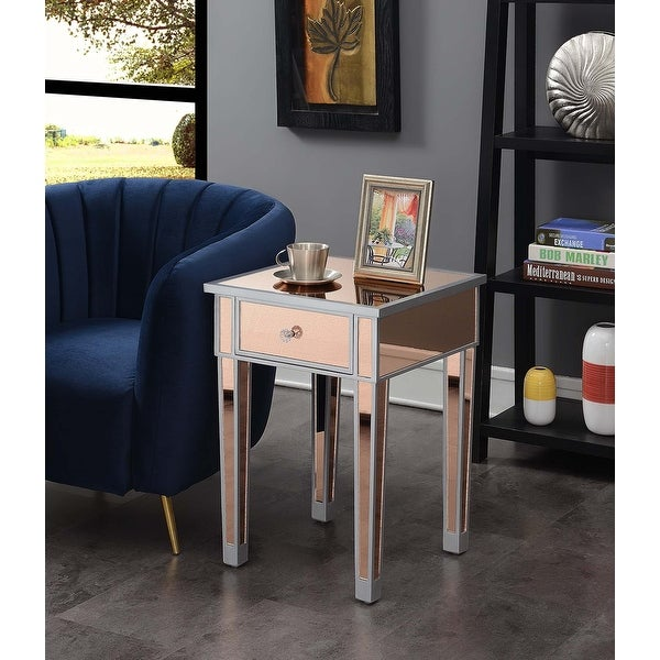 Silver Orchid Talmadge Mirrored End Table with Drawer. Opens flyout.