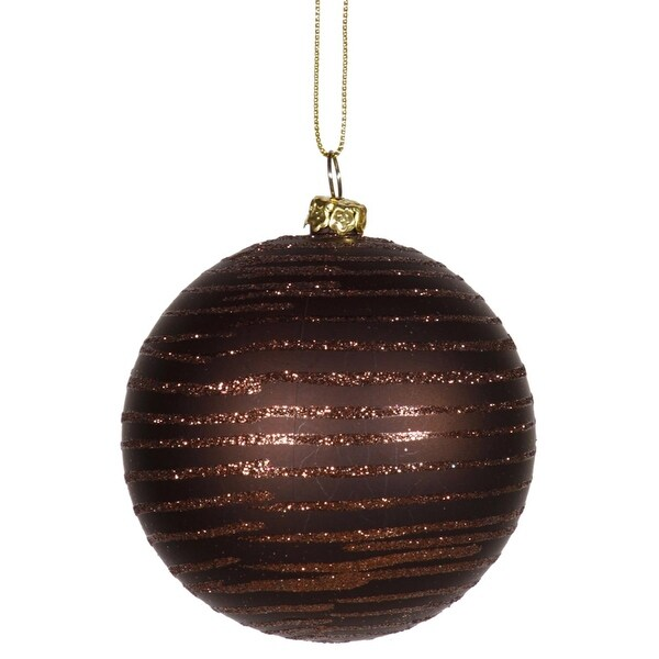 "Chocolate Brown Glitter Striped Shatterproof Christmas Ball Ornament 3"" (75mm)"