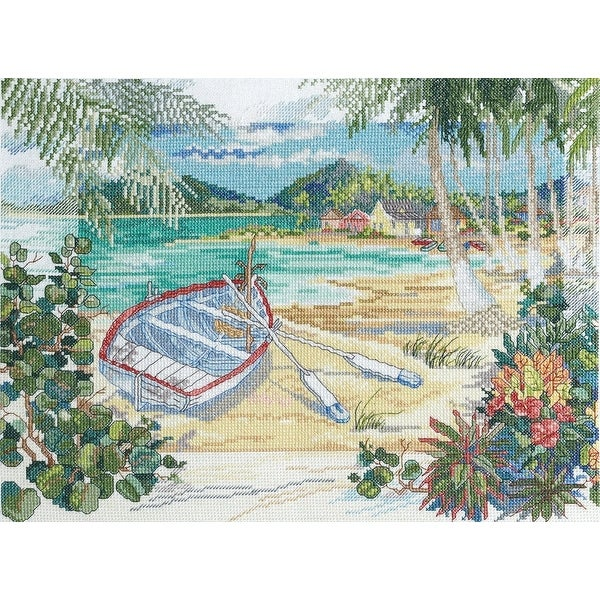 "Bucilla Counted Cross Stitch Kit, Island Boat by Paul Brent - brown - 9.75"" x 13"""