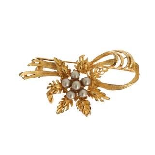 Dolce & Gabbana Gold Brass Crystal Floral SICILY Brooch