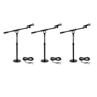 Podium Pro Audio PP58 Dynamic Microphones and Cables with Tabletop Boom Stands and Clamp Clips New PMS4MC1-3S