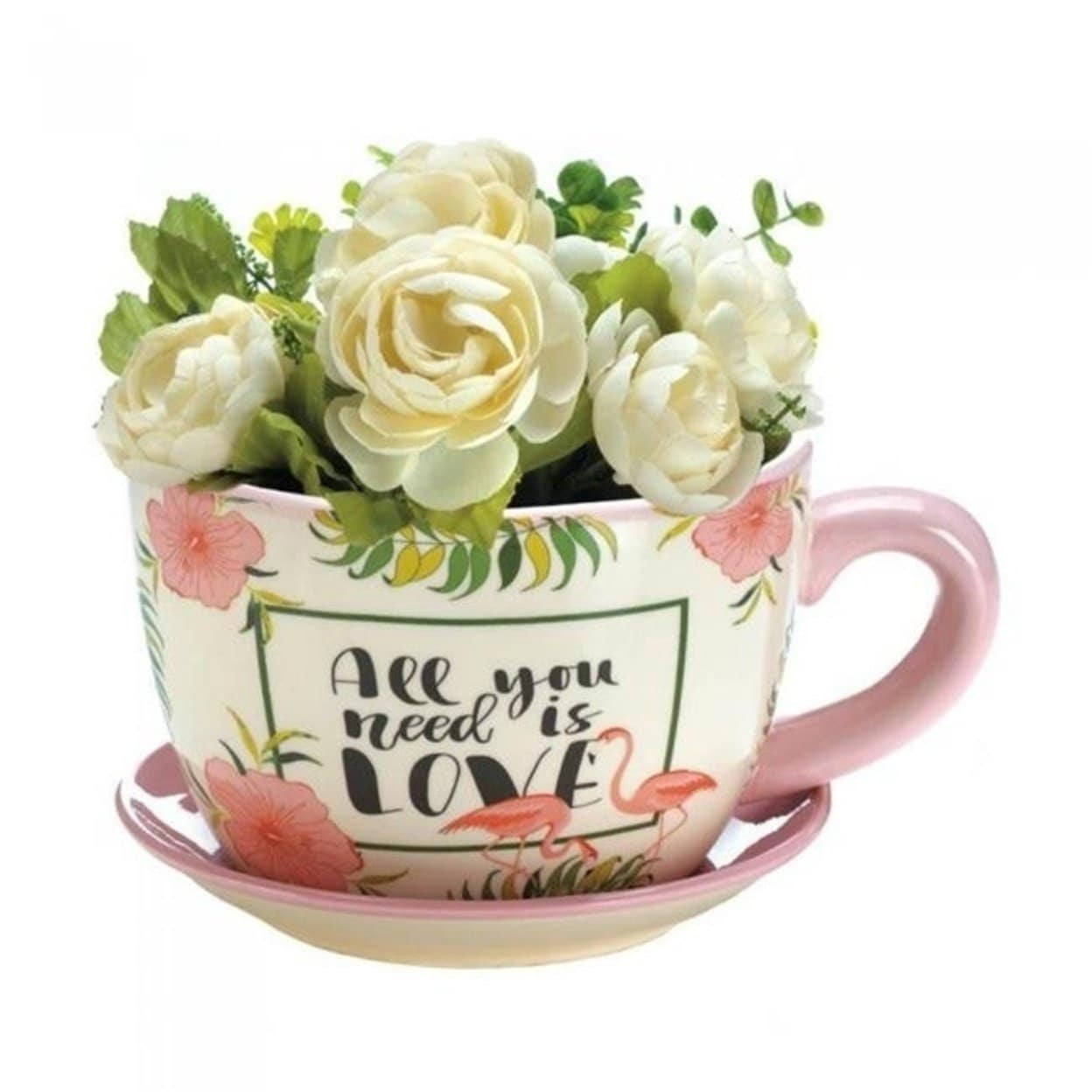 Summerfield Terrace 10018328 Flamingo Tea Cup Planter Pink