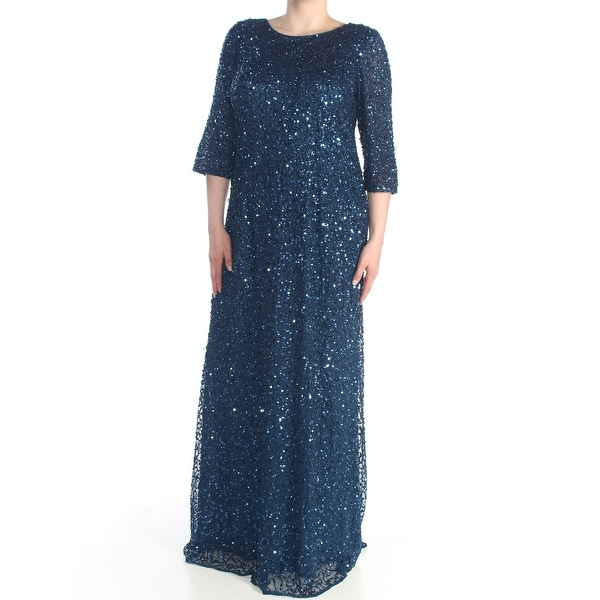 ADRIANNA PAPELL Womens Navy Sequined 3/4 Sleeve Jewel Neck Full-Length Formal Dress Size: 16W