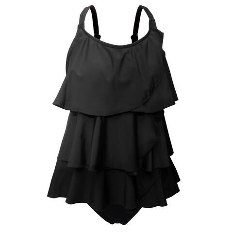 Multi-Tiered Tankini w/Adjustable Straps & Brief Bottom in Solid Black