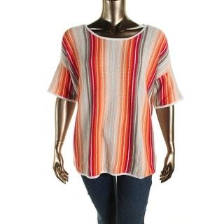 Jones New York Womens Plus Knit Striped Pullover Sweater - 1X