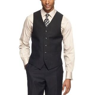 Sean John Vest 44 Regular 44R Deep Black Tonal Striped Suit-Separates