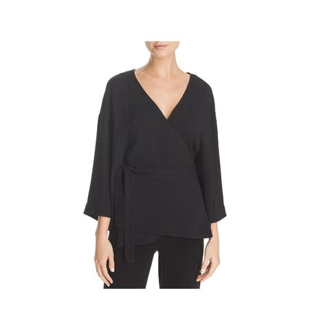 Theory Womens Wrap Top Elevated 3/4 Sleeves