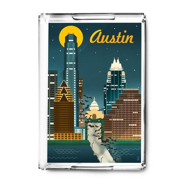 Austin, Texas - Retro Skyline - Lantern Press Artwork (Acrylic Serving Tray)