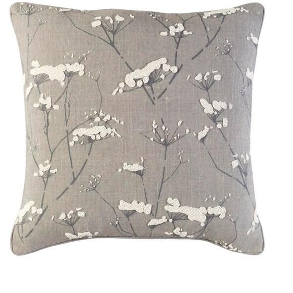 "22"" Gunmetal Gray and White Woven Decorative Throw Pillow – Down Filler"