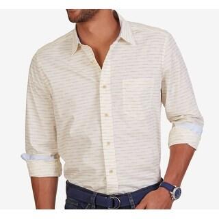 Nautica NEW Yellow Mens Size XL Pocket Woven Button Down Stripe Shirt
