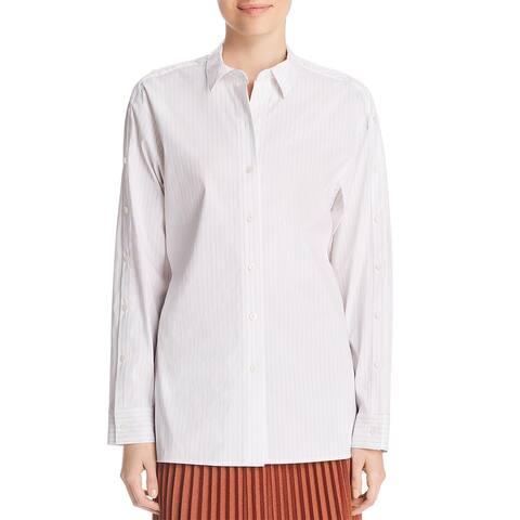 Lafayette 148 New York Womens Trinity Button-Down Top Point Collar Workwear - Khaki Multi