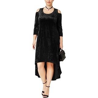 NY Collection Womens Plus Midi Dress Velvet Cold Shoulder