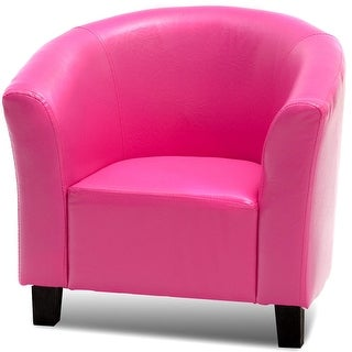 PU Leather Kids Sofa Armrest Chair-Rose Red
