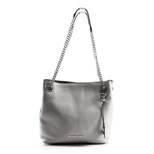 0ec56970d46 Shop Michael Kors NEW Pearl Gray Leather Jet Set Chain Shoulder Bag ...