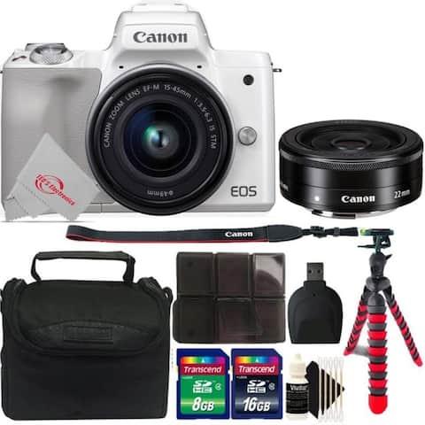 Canon EOS M50 Mirrorless Digital Camera White with 15-45mm Lens + EF-M 22mm f2 STM Lens + Mega Accessory Kit