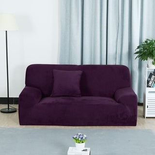Unique Bargains L-Shaped Stretch Sofa Couch Slipcovers Purple