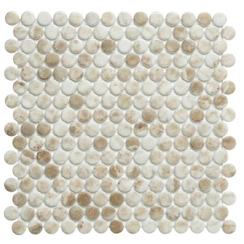 The Tile Life Eterna Penny Recycled Penny Glass Shiny Mosaic Tile