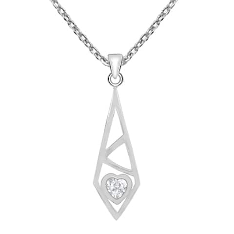 Cubic Zirconia Sterling Silver Heart Chain Pendant by Orchid Jewelry