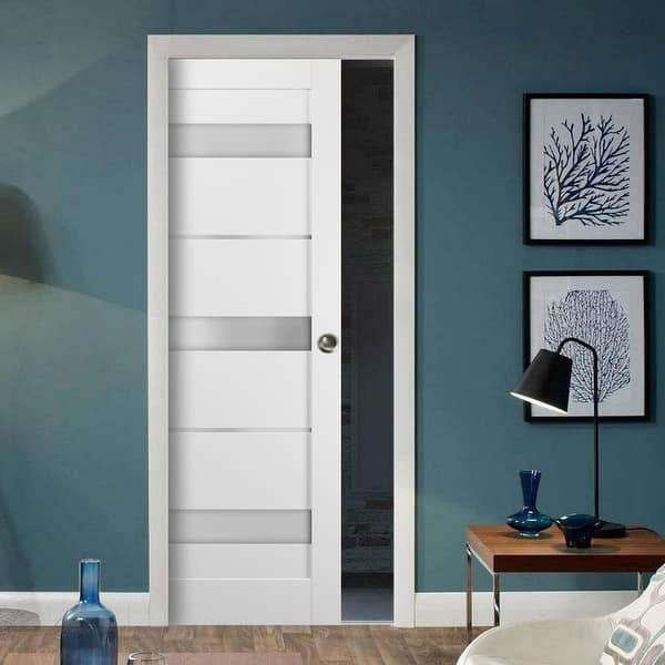 Panel Lite Pocket Door Frames Quadro 4055 White Silk Frosted Opaque Glass S Overstock 32678192