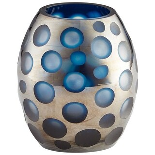 "Cyan Design 09459  Quest 5-3/4"" Diameter Glass Vase - Blue"