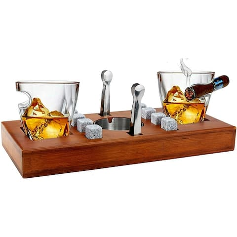 Bezrat Set Of 14 Twist Cigar Glasses On Wooden Stand - Brown