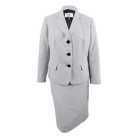 Le Suit Women's Plus Size Tweed Skirt Suit - White/Black